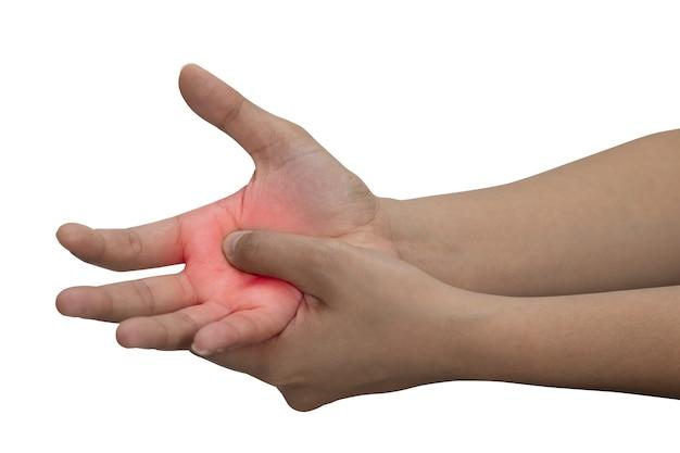Kobieta masuje jej bolesną rękę odizolowywającą na białym tle