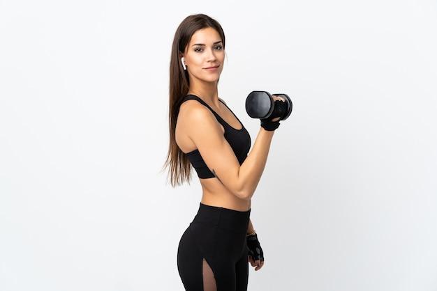 Kobieta młody sport podejmowania podnoszenie ciężarów
