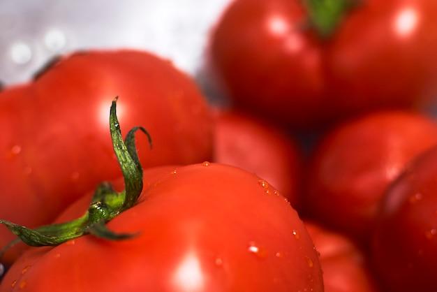 Kobieta mycia świeżo zebranych organicznych pomidorów w durszlak