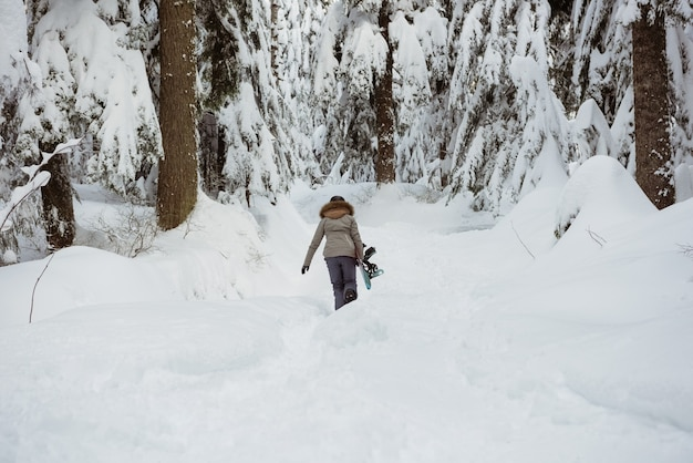 Kobieta narciarz spaceru z nartą na śnieżny krajobraz