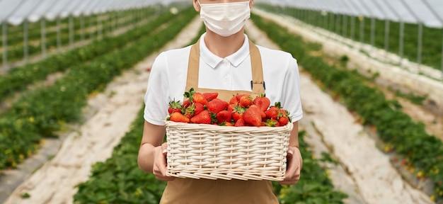 Kobieta ogrodniczka w masce trzymająca kosz truskawek