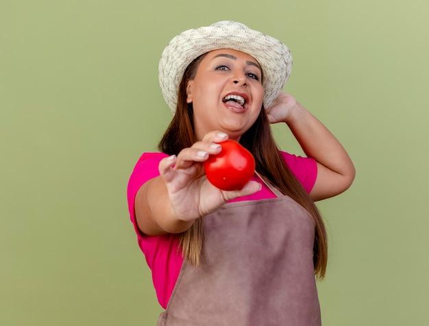 Kobieta ogrodnik w średnim wieku w fartuch i kapelusz gospodarstwa świeże pomidory patrząc na kamery uśmiechnięty szczęśliwy twarz stojącej na jasnym tle
