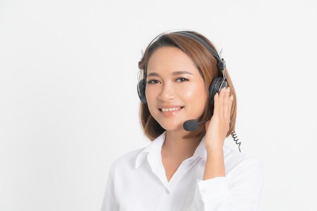 Kobieta operatora call center.