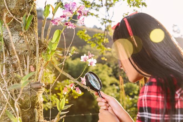 Kobieta patrzeje kwiatu przez powiększać - szkło