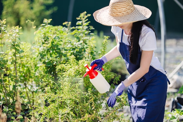 Kobieta piękna ogrodnik w słomkowym kapeluszu kropi rośliny z opryskiwacza ogrodowego.