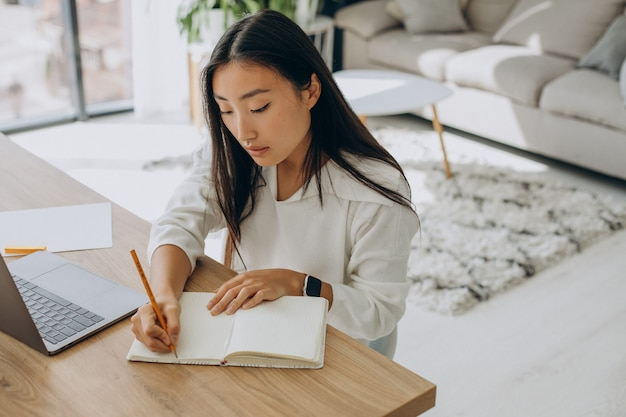 Kobieta pracująca na komputerze przy biurku z domu