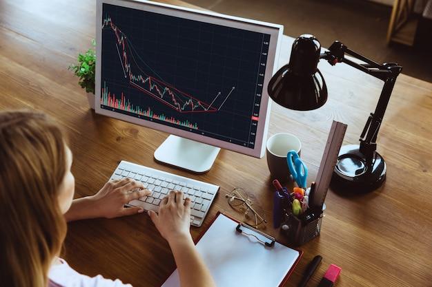 Kobieta pracująca w domu podczas kwarantanny koronawirusa lub covid-19, koncepcja zdalnego biura.