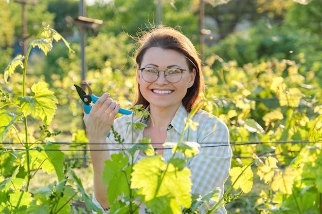 Kobieta przycinanie krzewów winorośli