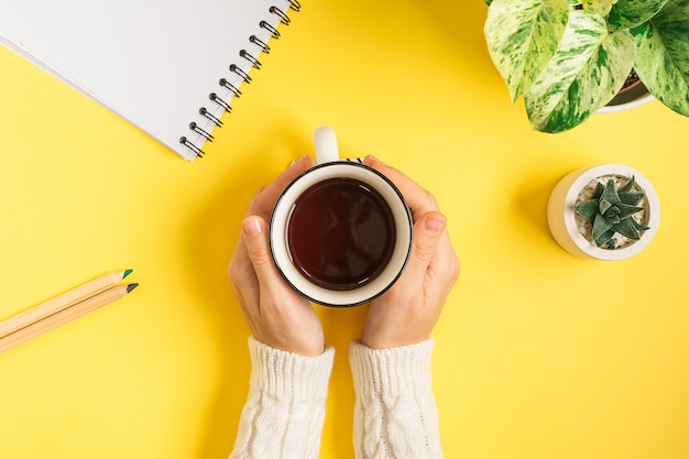 Kobieta ręce z filiżanką herbaty