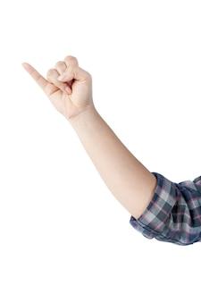 Kobieta ręka pokazuje symbole i gesty na białym tle. plik zawiera ścieżkę przycinającą, dzięki czemu jest łatwa w obróbce.