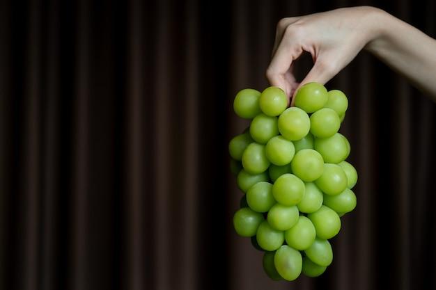 Kobieta ręka trzyma żółty zielony kiść winogron