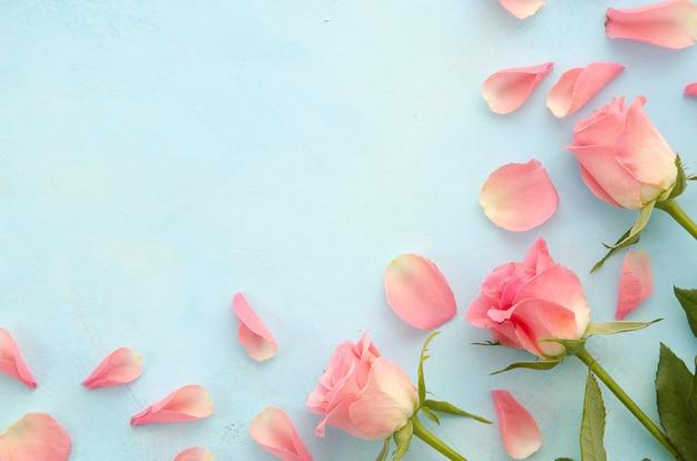 Kobieta salon piękności i procedury spa z różowym płatki róż widok z góry na jasnoniebieskim tle