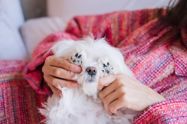 Kobieta siedzi na łóżku ze swoim słodkim maltańskim psem poza tym
