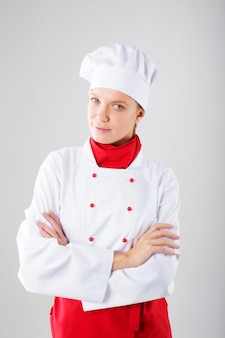 Kobieta szefa kuchni. odosobniony