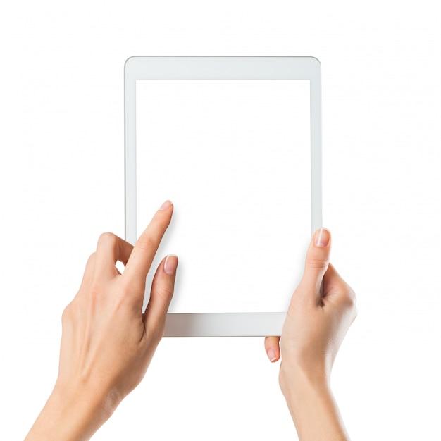 Kobieta trzyma cyfrowy tablicowy