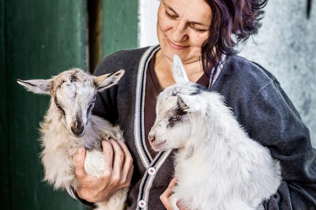Kobieta trzyma na rękach małe kozy. miłość do zwierząt domowych. praca ludzi w rolnictwie na farmie