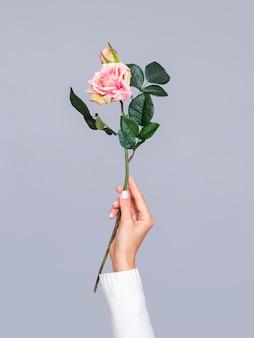 Kobieta trzyma romantyczną różę