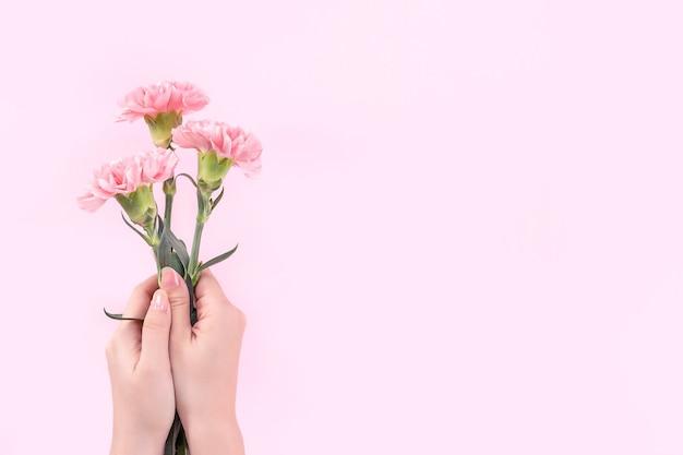 Kobieta trzyma różowy goździk na różowym tle tabeli