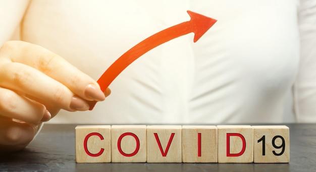 Kobieta trzyma strzałkę nad słowem covid-19. pojęcie zwiększonej śmiertelności i diagnozy