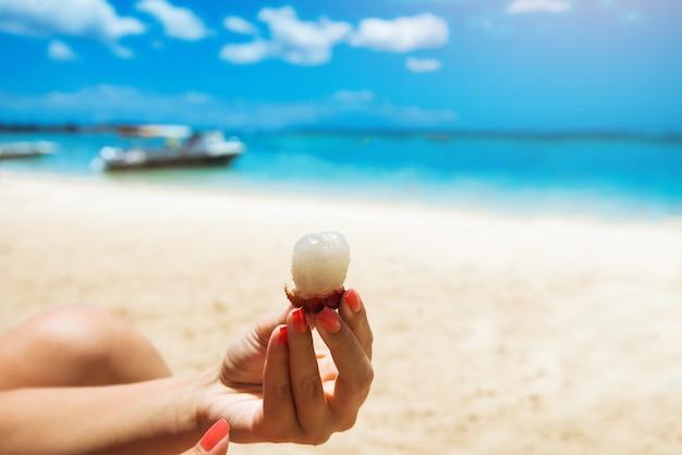 Kobieta trzymając się za ręce liczi. śliwka chińska. owoce na tropikalnej wyspie