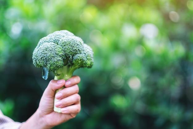Kobieta trzymająca w rękach zielone brokuły