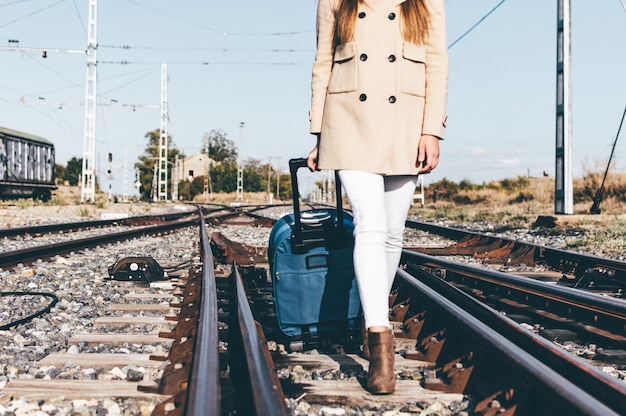 Kobieta ubrana w beżowy kapelusz i kurtkę idąca z walizką po torze kolejowym.