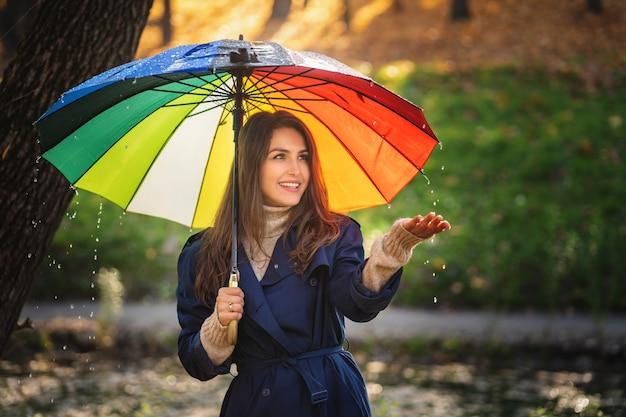 Kobieta ubrana w płaszcz na zewnątrz. użyła dłoni, by dotknąć deszczu.
