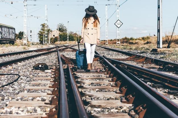 Kobieta ubrana w szary kapelusz i beżową kurtkę spacerująca z walizką po torach kolejowych.