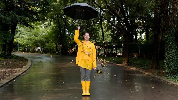 Kobieta ubrana w żółty płaszcz przeciwdeszczowy