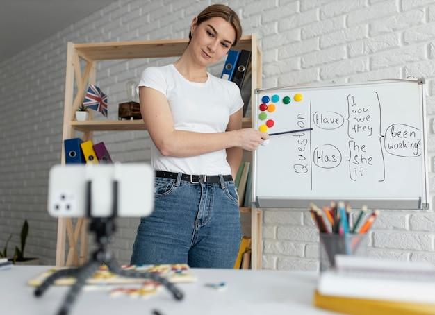 Kobieta uczy dzieci lekcji angielskiego online