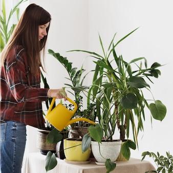 Kobieta w domu podlewania roślin rośliny doniczkowe w domu