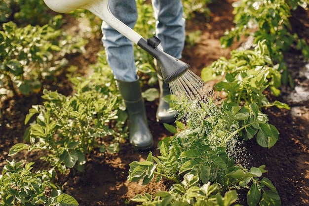 Kobieta w kapeluszu, trzymając lejek i pracuje w ogrodzie