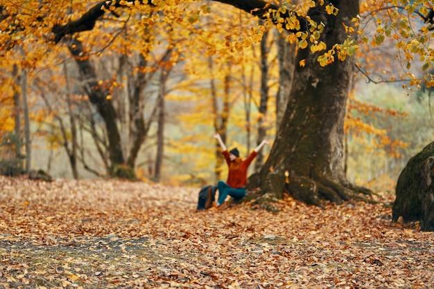 Kobieta w lesie jesienią siedzi pod drzewem krajobraz żółty model liści