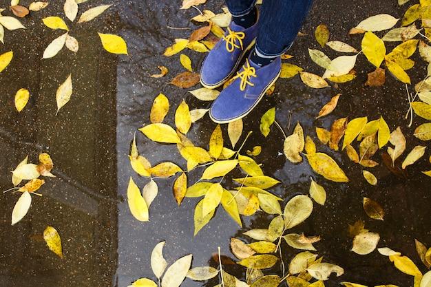 Kobieta w niebieskich butach stojąca na mokrym asfalcie, opadłe żółte liście
