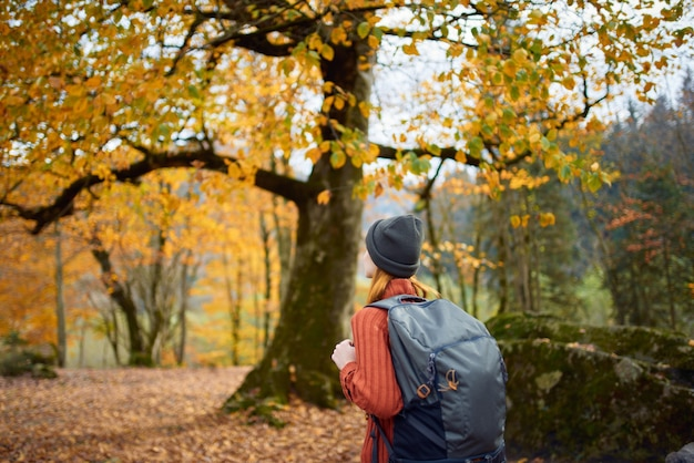 Kobieta w sweterkowej czapce z plecakiem na łonie natury w leśnym krajobrazie i opadłych liściach