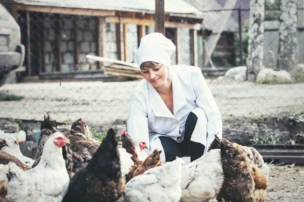 Kobieta w szlafroku uśmiechnięta młoda weterynarz sprawdza kury na małej prywatnej farmie