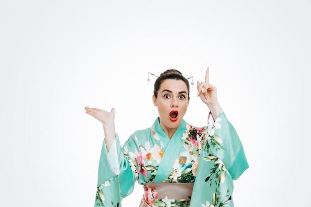 Kobieta w tradycyjnym japońskim kimonie zdumiona i zdziwiona, wskazując palcem wskazującym w górę, prezentując coś ramieniem dłoni na białym tle