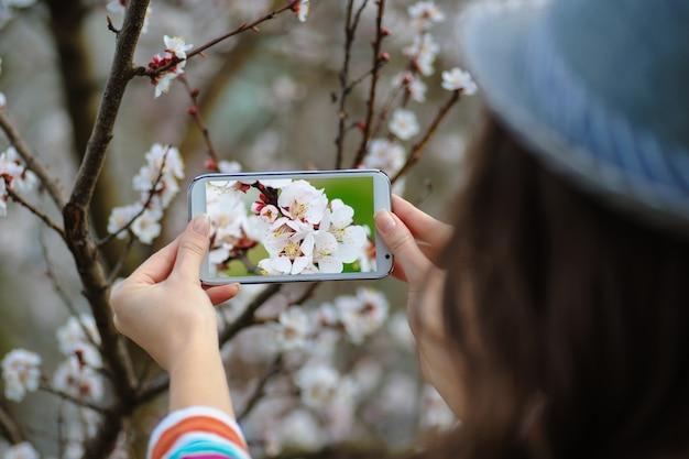 Kobieta w wiośnie kwitnie ogród fotografuje kwiatonośnego drzewa