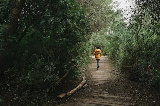 Kobieta w żółtym płaszczu przeciwdeszczowym spacerująca po lesie