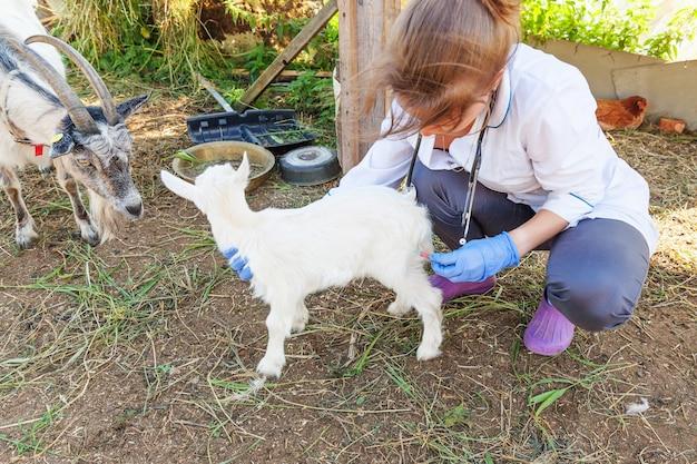 Kobieta weterynarz z strzykawki gospodarstwa i wstrzykiwania kozie dziecko na tle ranczo. młoda koźlątka z rękami weterynarza, szczepienie w naturalnej ekologicznej farmie. opieka nad zwierzętami, nowoczesny inwentarz, rolnictwo ekologiczne.
