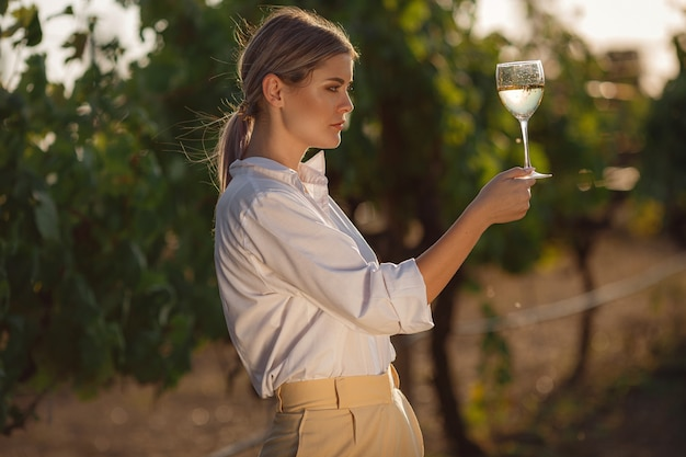 Kobieta winiarz degustacja białego wina z kieliszka w winnicy. tło winnic o zachodzie słońca.