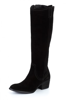 Kobieta wysokie kolanowe skórzane buty na białym tle