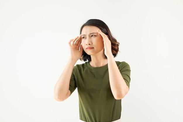 Kobieta z bólem głowy na odosobnionej białej ścianie