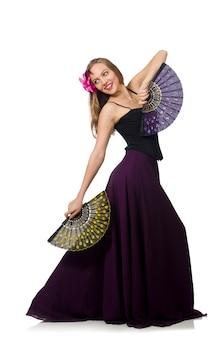 Kobieta z fan tanów tanami odizolowywającymi