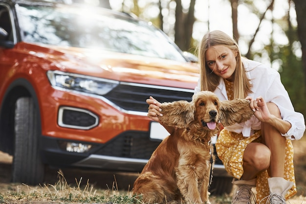 Kobieta z psem na świeżym powietrzu w lesie dobrze się bawi.
