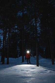 Kobieta z reflektorami, zwiedzająca las o zmierzchu