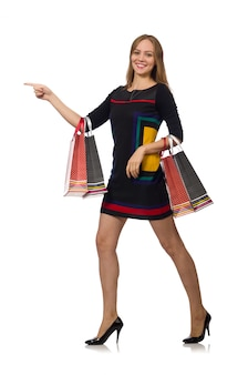 Kobieta z torba na zakupy odizolowywającymi