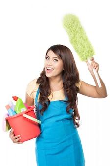 Kobieta z urządzenia do czyszczenia