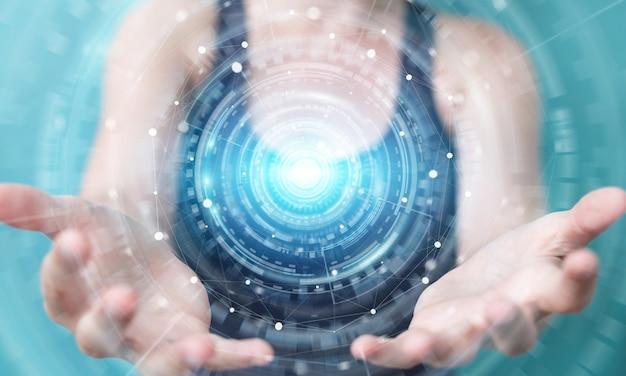 Kobieta za pomocą cyfrowego interfejsu sieciowego, renderowania 3d