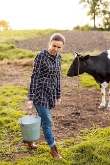 Kobieta zbiera mleko od krowy